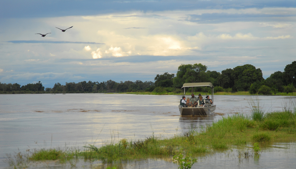 Boating on the Luangwa River in Zambia