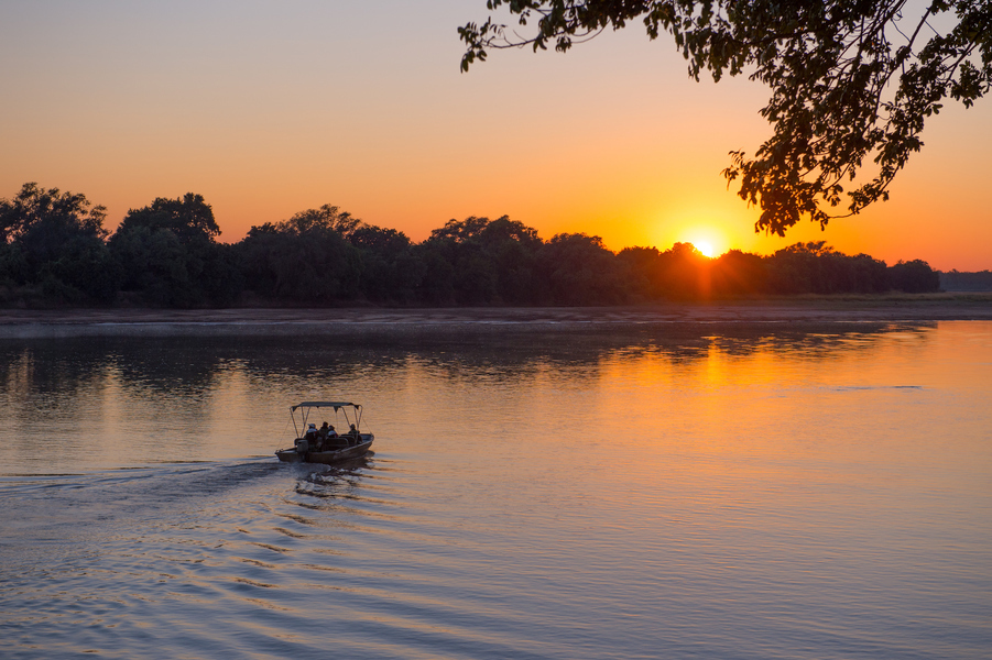 The Luangwa River at dusk, Zambia