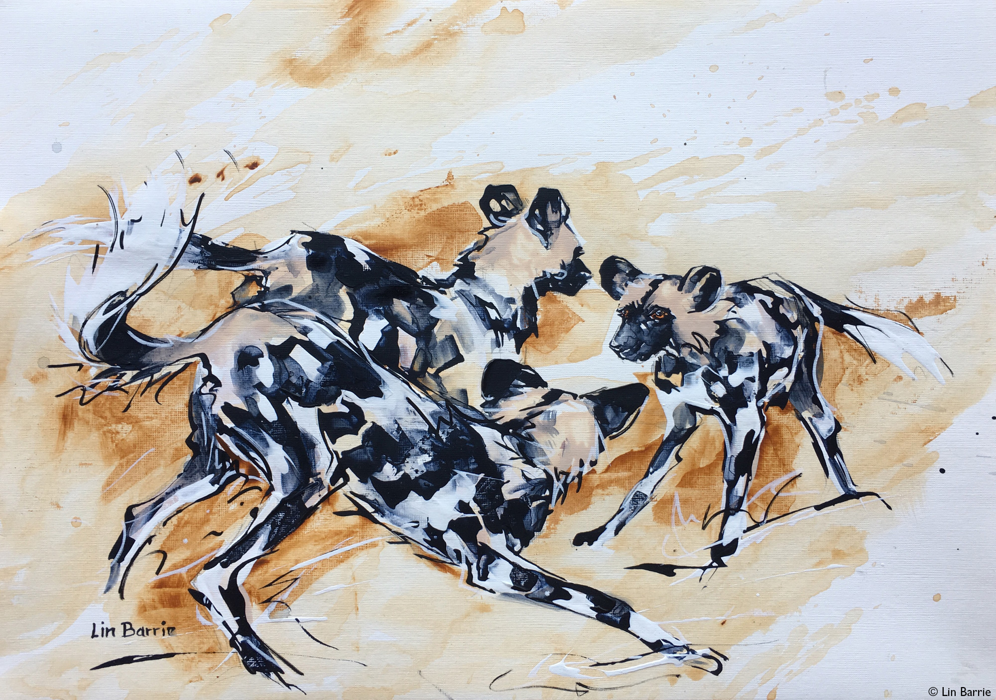 Painting of painted wolves playing