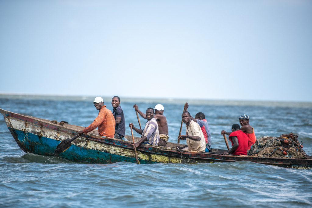 Fisherman in a boat on the sea in Bazaruto in Mozambique