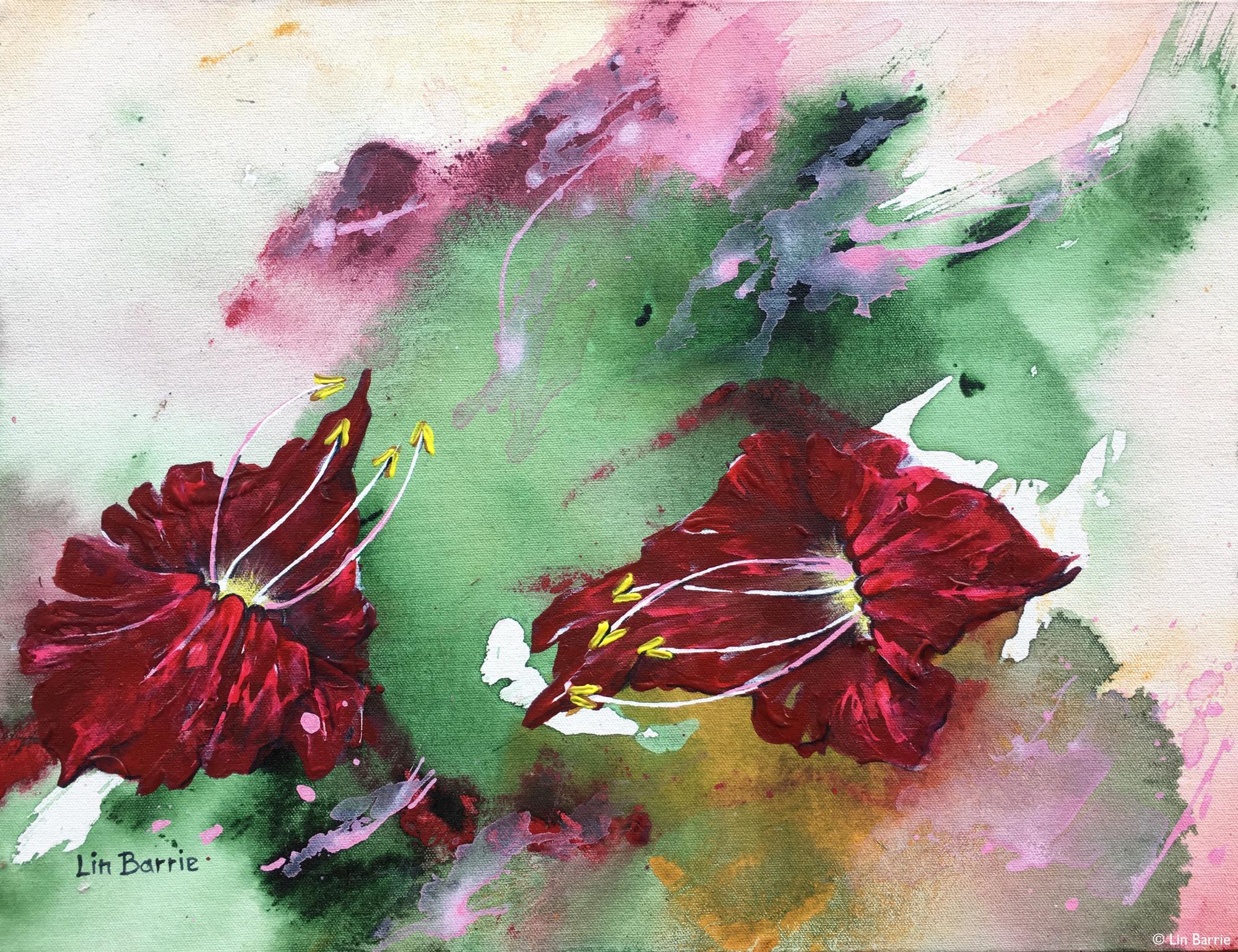 Kigelia flowers acrylic painting