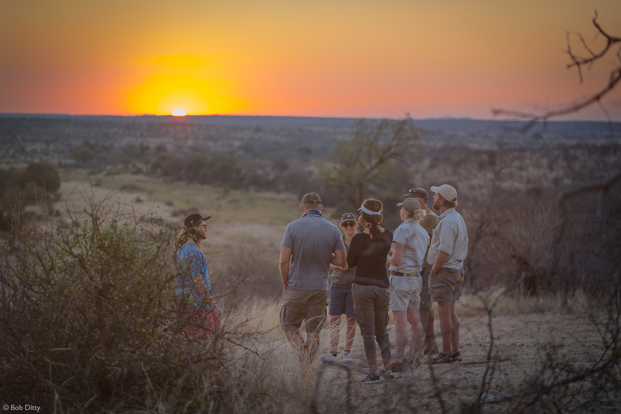 The group at sunset in Klaserie Private Nature Reserve, South Africa