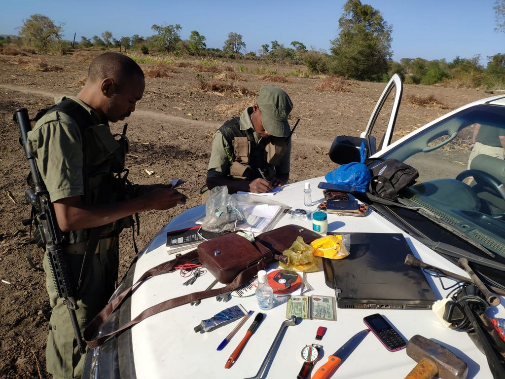 Authorities inspecting tools confiscated from illegal loggers in Mozambique