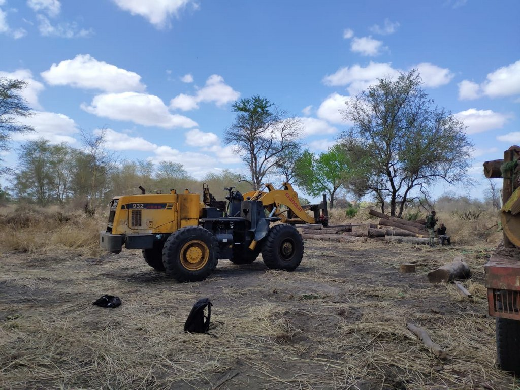Illegal logging machinery in Mozambique