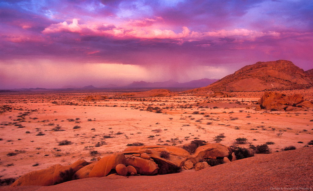 Spitzkoppe Mountains and a thunderstorm, Namibia