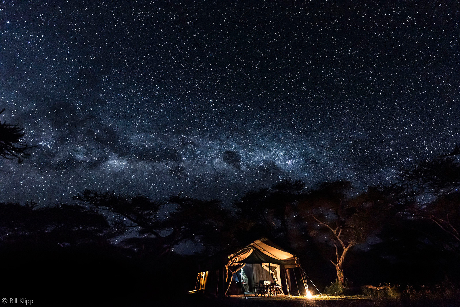 The Milky Way and night sky over our tent. Serengeti National Park, Tanzania © Bill Klipp