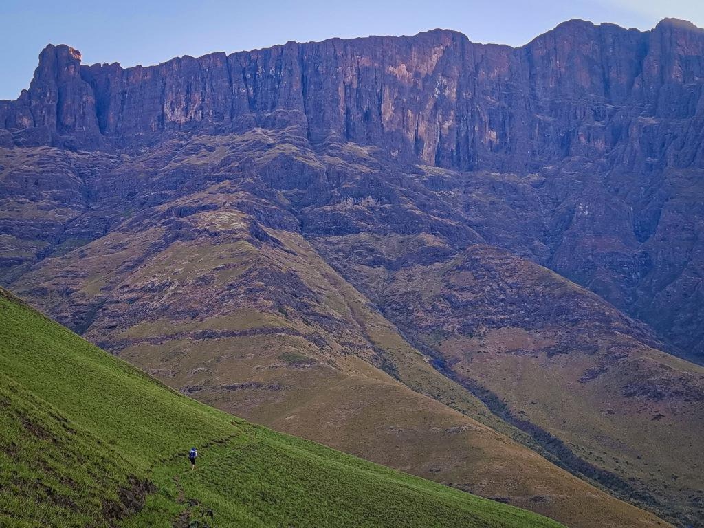 Person hiking through the Drakensberg