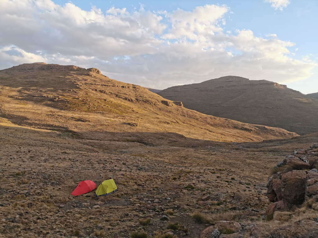 Two tents camping in Drakensberg