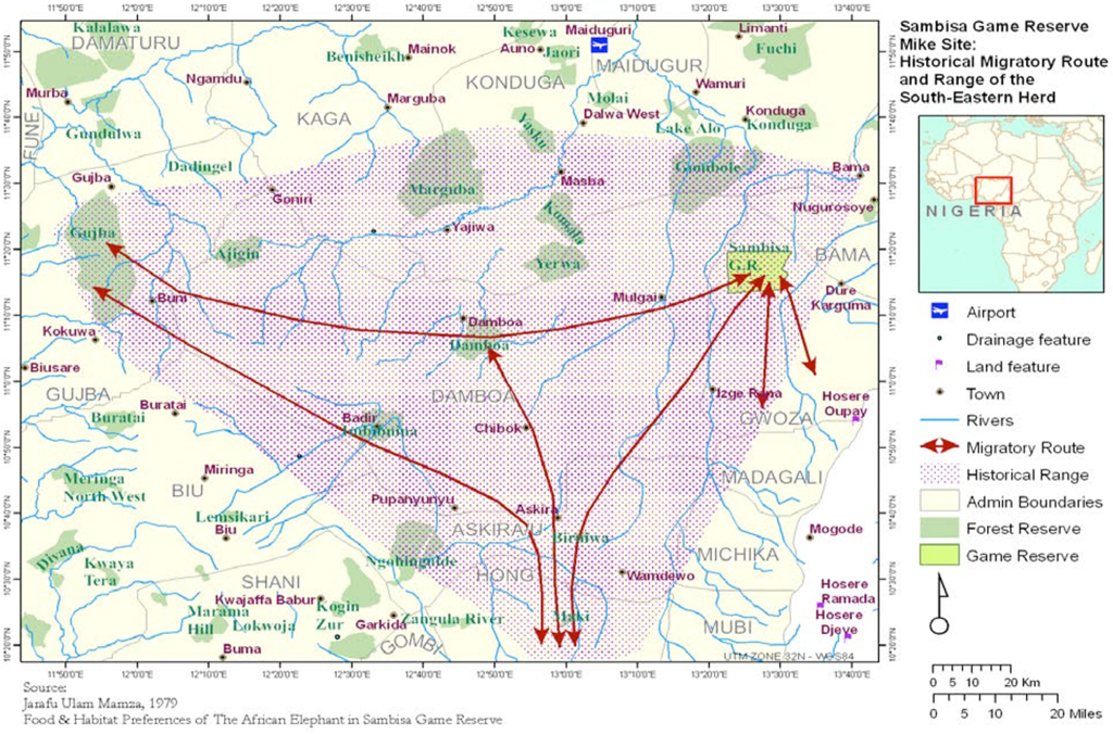 A map showing elephant migration routes through the Sambisa Forest in 2006, Nigeria