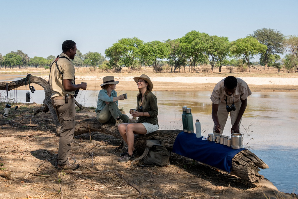 Guests taking a tea break while on walking safari in South Luangwa National Park in Zambia