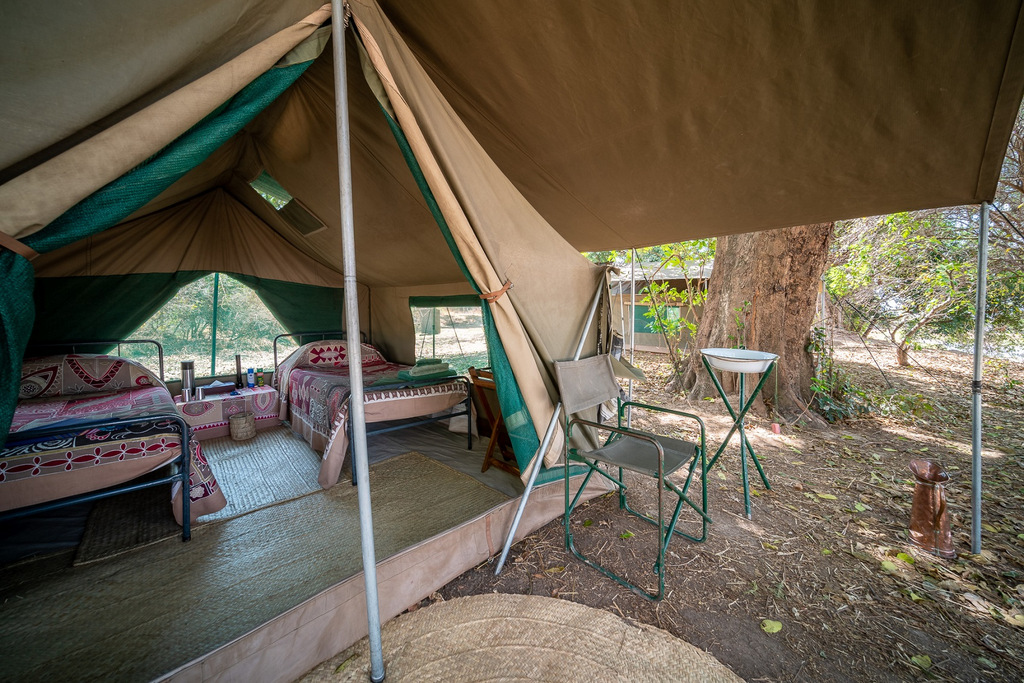 Tent accommodation in South Luangwa National Park in Zambia